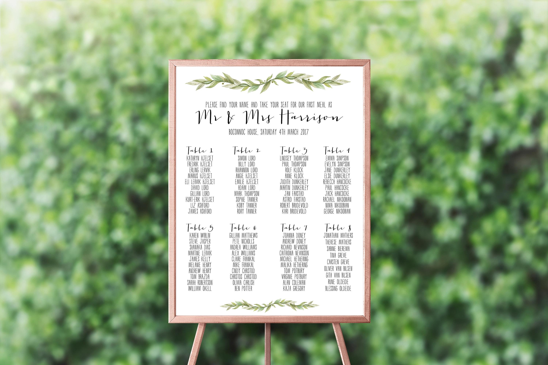Wedding Seating Chart, Printable Table Seating Plan, Greenery Printable  Table Plan, PDF