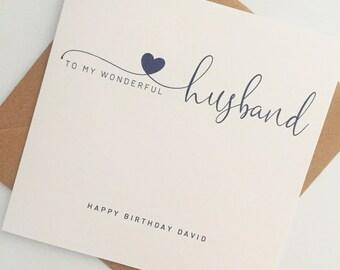 Husband Birthday Card, Personalised Card for Husband, Birthday Card for Husband, Husband Birthday, Simple Birthday Card
