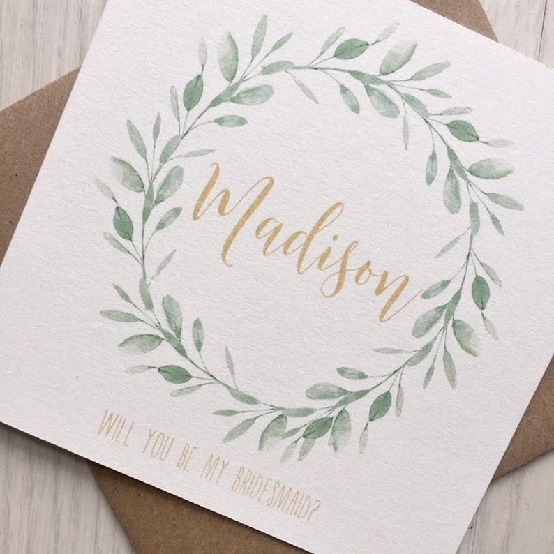 Bridesmaid proposal card gold maid of honor proposal image 0