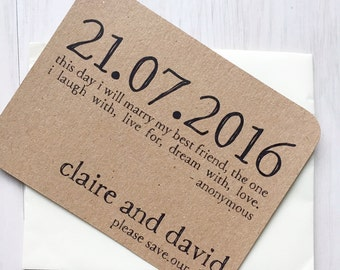 Save the date card - rustic save the date card - kraft save the date card