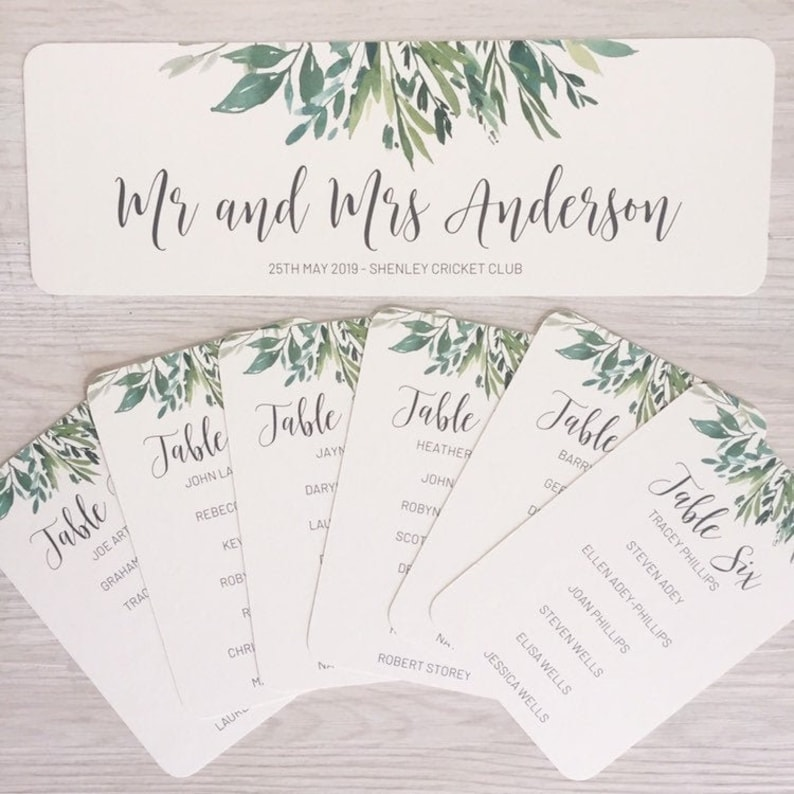 Table plan cards  greenery table plan  greenery wedding image 0