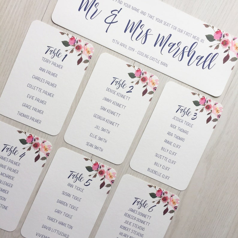 Wedding table plan cards  blush pink and navy table plan  image 0