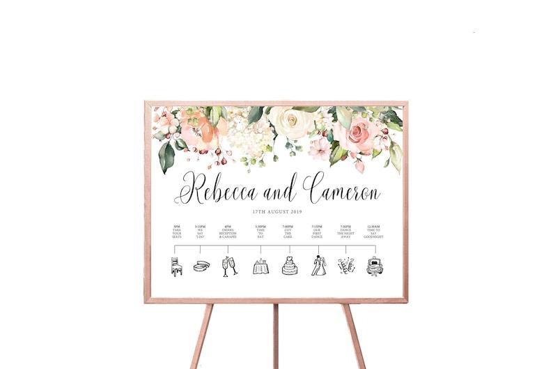 Order of the day Wedding Printable Wedding Sign Printable image 0