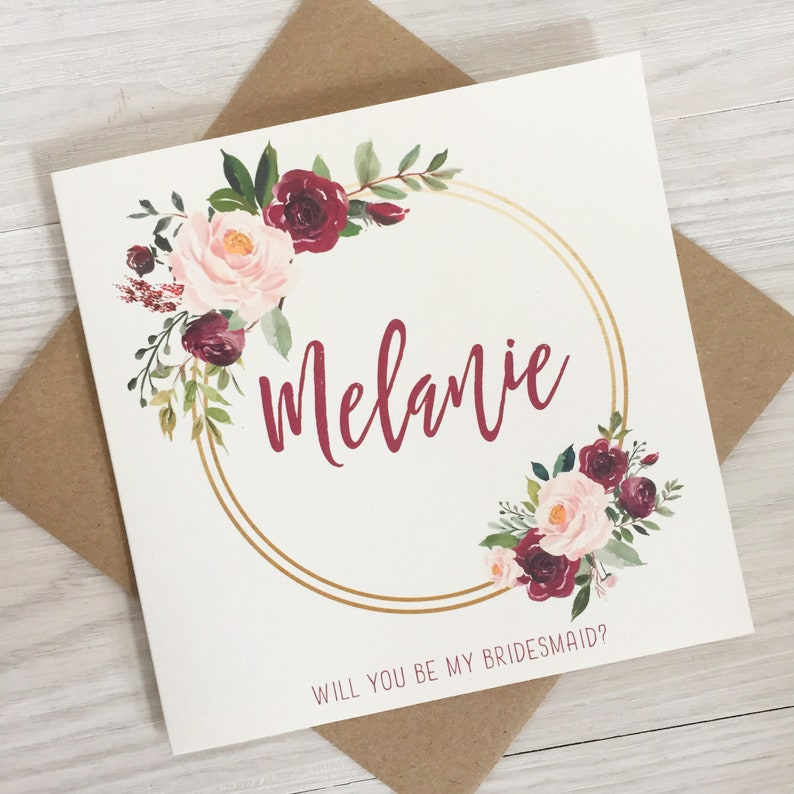 Burgundy bridesmaid proposal will you be my flower girl card image 0