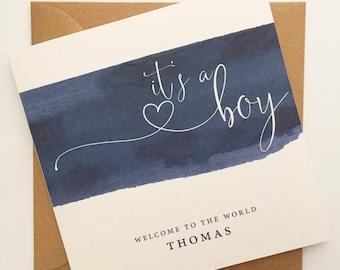 It's a Boy Card, New Baby Card, Pregnancy Card, Newborn Baby Card, Baby Boy Card, Personalised New Baby Boy Card