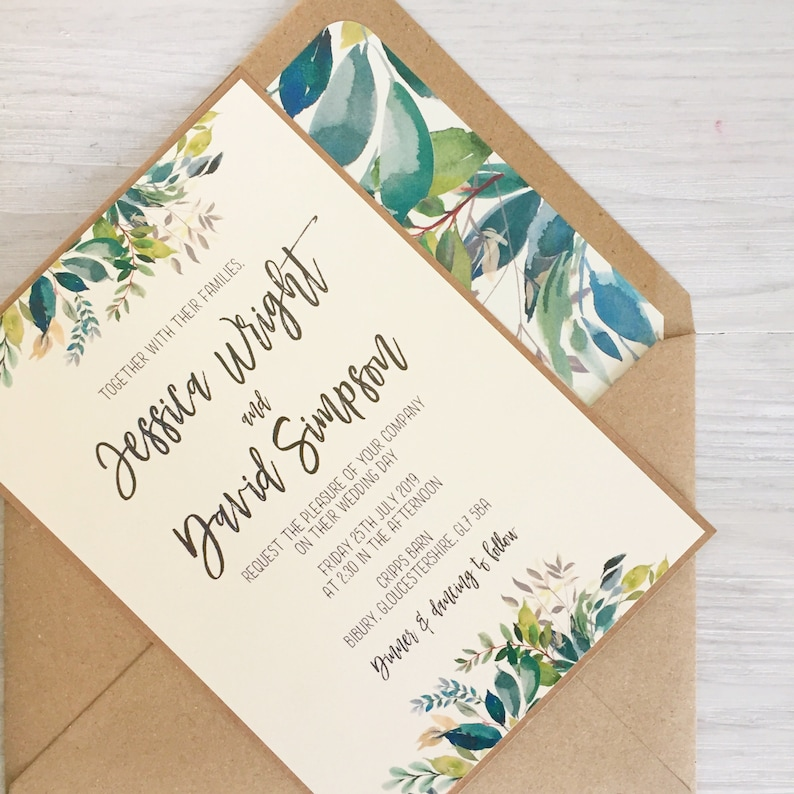 Greenery Wedding Invitation Leafy Invite Rustic Wedding image 0