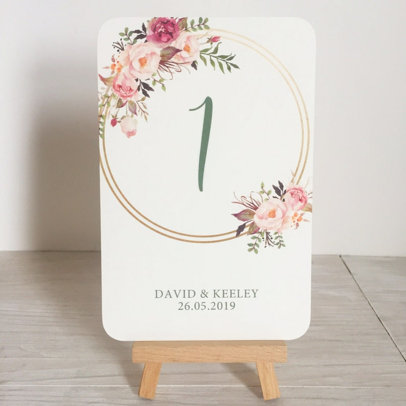 Wedding table number cards  blush and gold table numbers  image 0