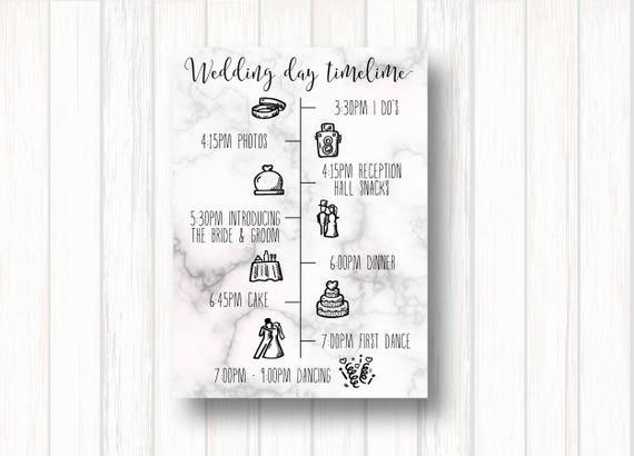 wedding timeline wedding program wedding itinerary etsy