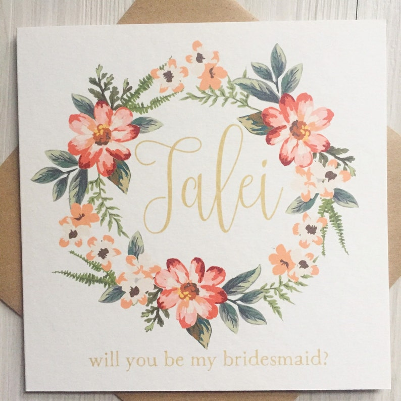 Will you be my flower girl card bridesmaid card maid of image 0