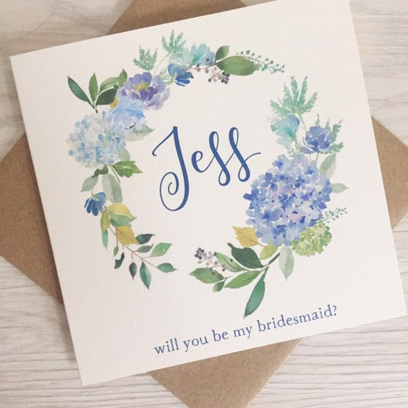 Blue Flower Bridesmaid Card Personalised Bridesmaid Proposal image 0