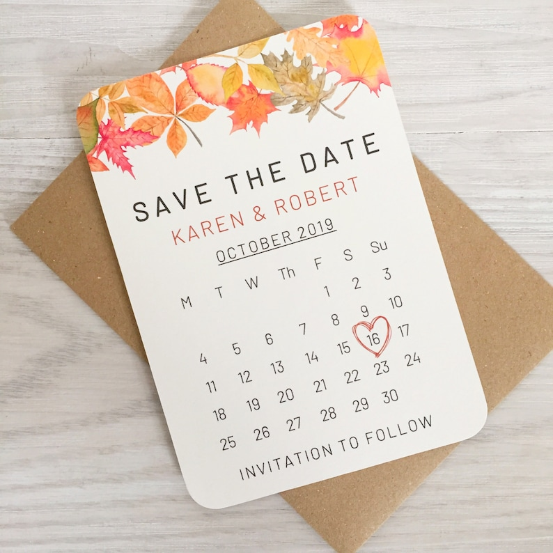 Fall Wedding Save the Date Cards Autumn Rustic Wedding image 0