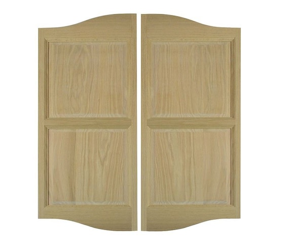 Double swinging wood door