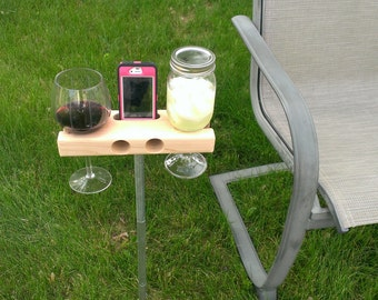 Wine Glass Cup Holder For An Outdoor Chair Perfect Gift The Etsy