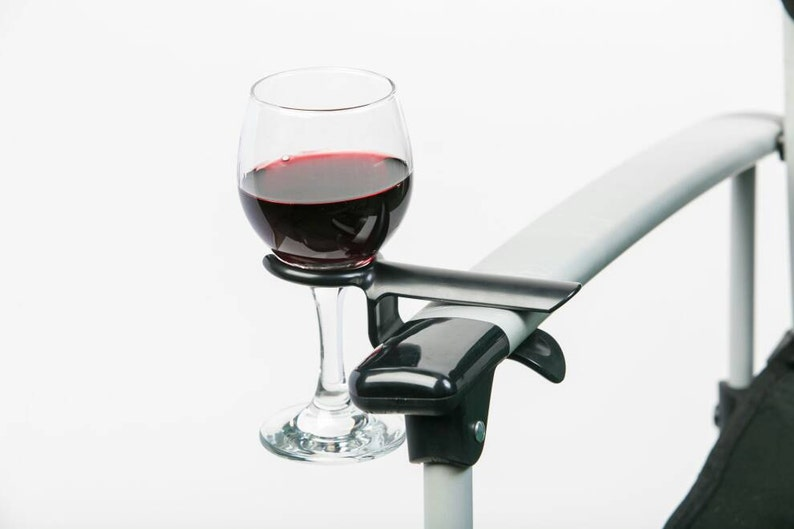 Wine glass cup holder for an outdoor chair. Perfect gift. The image 0