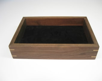 Wood Valet Tray Box Made From Black Walnut With Maple Splines 205
