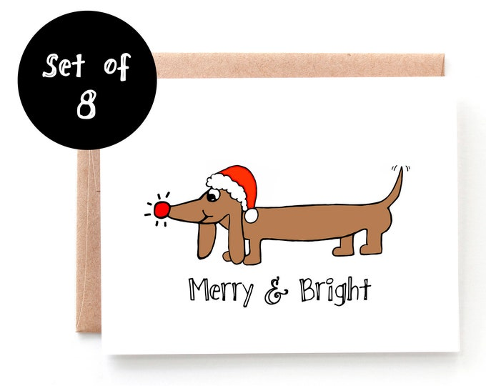 Merry and Bright Set of 8 Christmas Cards