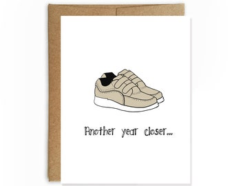 Velcro Shoes, Funny Birthday Card by Yellow Daisy Paper Co.