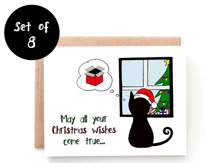 Christmas Wishes, Cat Christmas Card - Set of 8 Cards