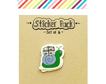 Snail Mail Sticker Set, 6 Vinyl Stickers