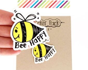 Bee Happy Bee Stickers, Set of 2