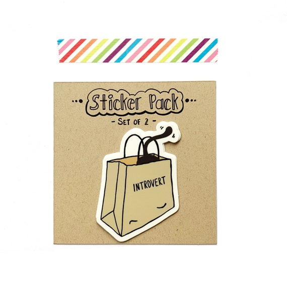 Introverting Cat Stickers, Set of 2