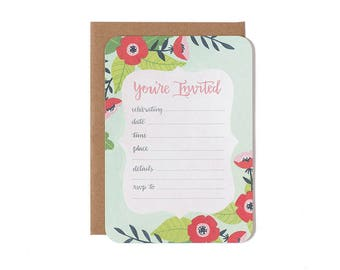 You're Invited Fill in the Blank Invitations - Set of 10 Party Invitations