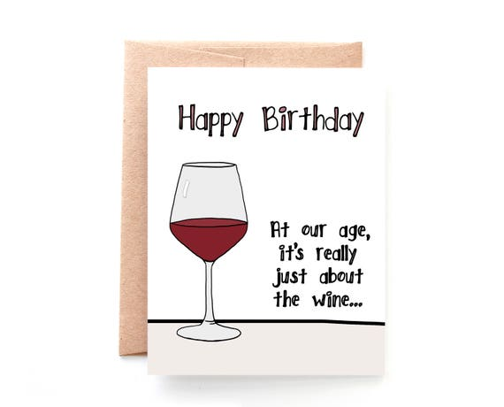 Wine Birthday Card For Her Funny Birthday Card For Friend Etsy