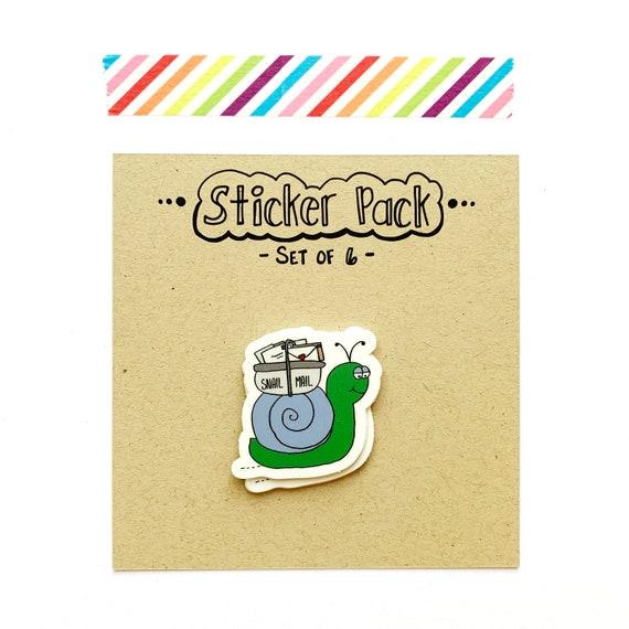 Snail Mail Sticker Set, 6 Vinyl Stickers