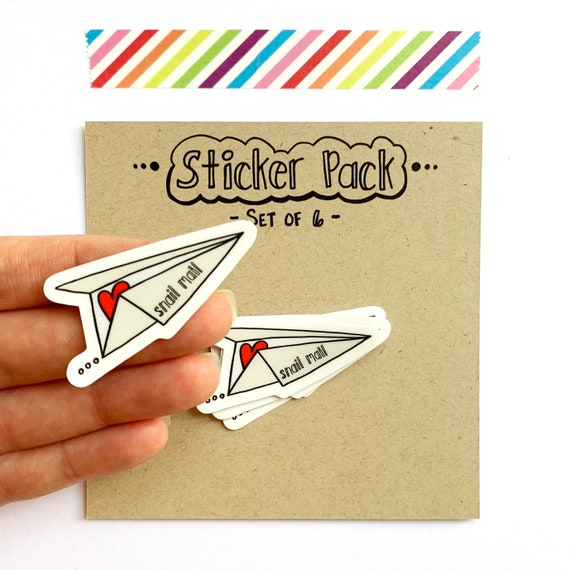 Snail Mail Paper Plane Stickers, Set of 6 Vinyl Stickers