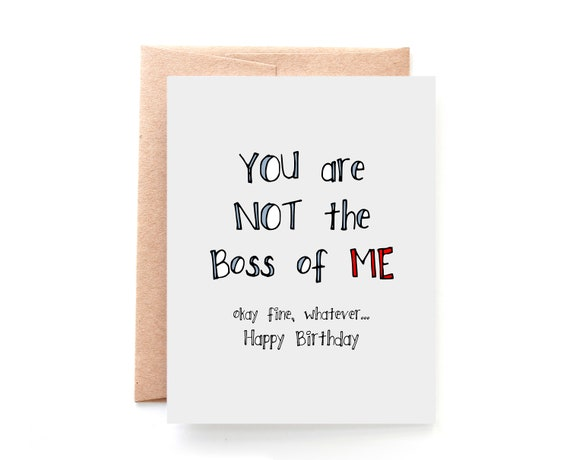 Birthday Card Wife Birthday Card Not The Boss Of Me Etsy