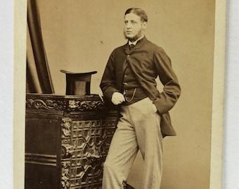 Carte de Visite   Vintage Photograph of Victorian Gentleman with Top Hat c1870s DUBLIN Photograph by Cranfield