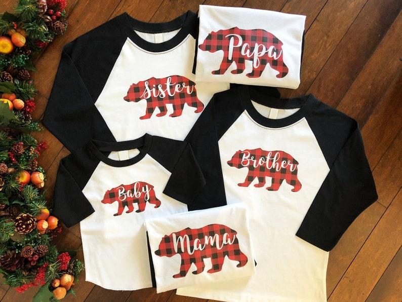 857eccd6 Buffalo Plaid Raglan Papa Bear Shirt Mama Bear Shirt   Etsy