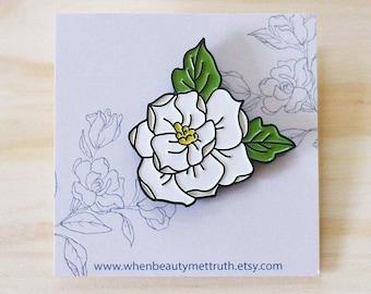 Magnolia Enamel Pin/Soft enamel/1.5 in.