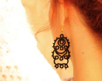 Black lace tatted earrings/Tatting lace/Frivolite earrings/Lace jewelry/Tatted jewelry/Art nouveau earrings