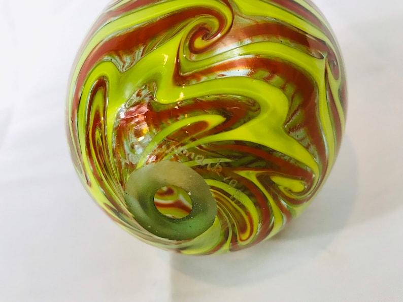 Vandermark Art Glass Yellow Red Swirl Egg Shaped Blown Glass Signed