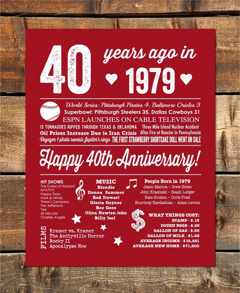 Fortieth Wedding Anniversary Gifts: 40th Wedding Anniversary Gift 40th Anniversary Decorations