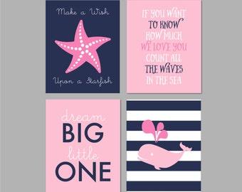 Nautical Girl Nursery Decor, Nautical Nursery, Navy Pink Nautical Nursery, Whale Nursery, Make a Wish Upon A Starfish, Dream Big Little One