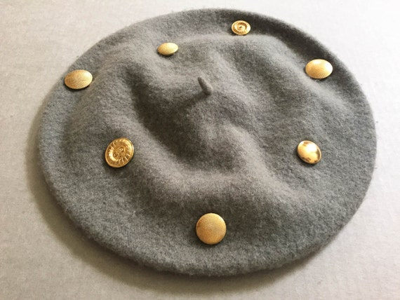 Vintage Hats Wool Hat Beret French Hat Winter Hat Beret Schoolgirl Hat Grey Beret Studded Hats Beret Vintage Wool Hat Fashion Wool Hats