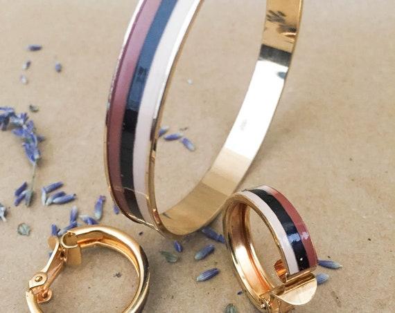 Vintage Enamel Set Bangle Bracelet and Hoop Earrings