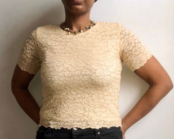 90s Lace Sheer Textured Shirt