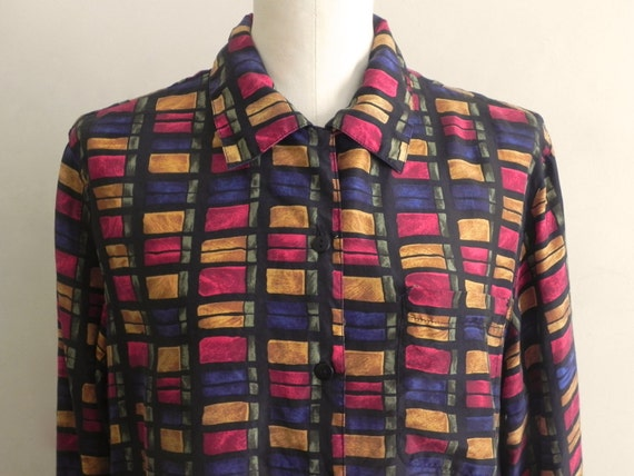 Vintage Silk Colorful Printed Blouse
