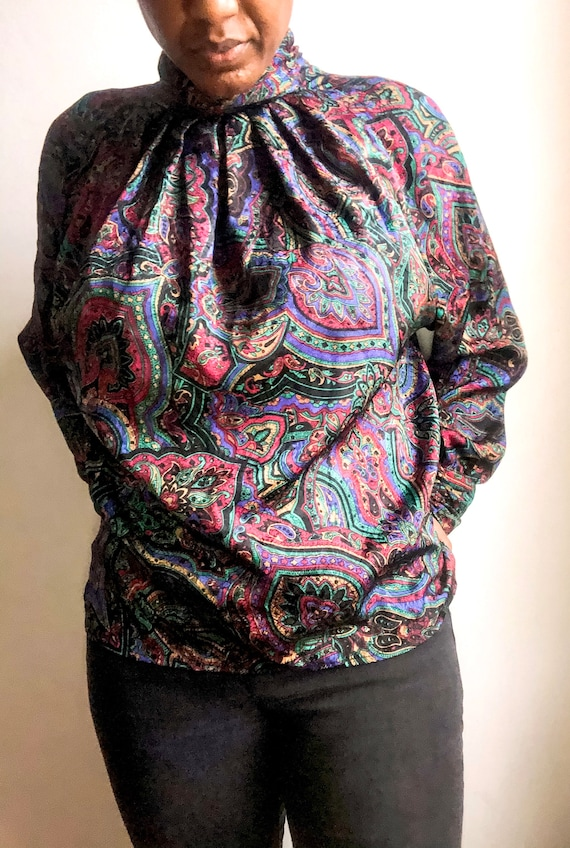 Vintage Paisley Print Women's Silk Purple Blouse 8