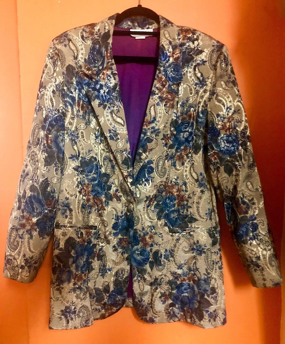 Vintage Paisley and Flower Print Oversized Blazer