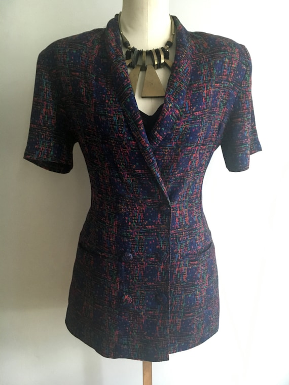 Vintage Short Sleeve Abstract Blazer