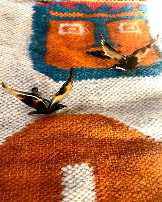 Vintage Art Deco Faux Tortoise Shell Sparrow Bird Clip Earrings