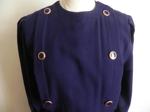 Vintage Wool Navy Sheath Dress w/Belt Vintage Desi