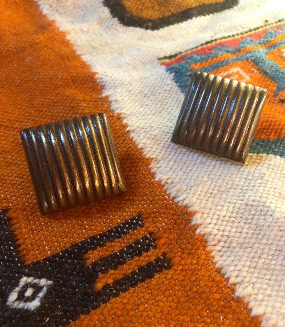 Vintage Wood Clip-On Statement Earrings