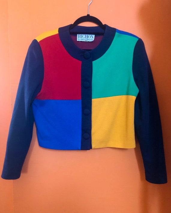 Vintage Color Block Cropped Blazer