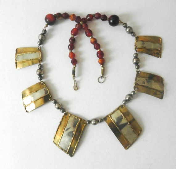 Vintage Brass Beaded Statement Necklace