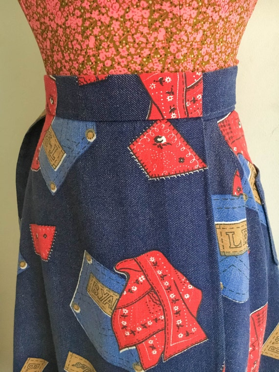 Vintage Ranchero Print Cowgirl Novelty Skirt